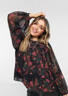 Topshop paisley print pintuck blouse in multi