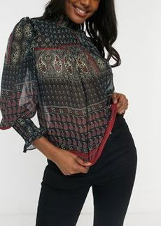 Topshop paisley shirred puff-sleeve blouse in multi