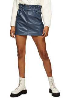 Topshop Paperbag Waist Faux Leather Miniskirt