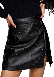 Topshop Pin Stud Faux Leather Miniskirt
