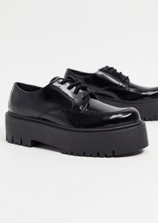 Topshop platform lace up loafers in black