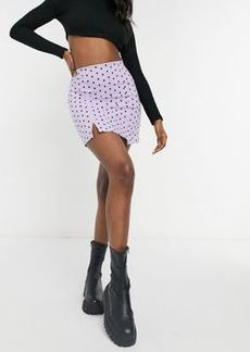 Topshop polka dot notch detail mini skirt in lilac