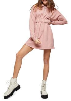 Topshop Quarter Zip Long Sleeve Minidress
