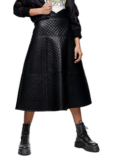 Topshop Quilted Faux Leather Midi Skirt