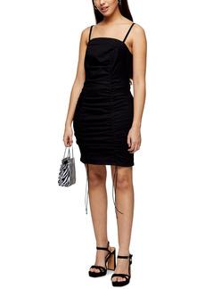 Topshop Ruched Denim Body-Con Dress (Petite)