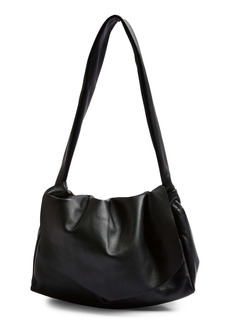 Topshop Ruched Leather Flap Shoulder Bag