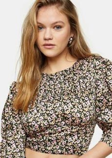 Topshop ruched satin blouse in cute floral