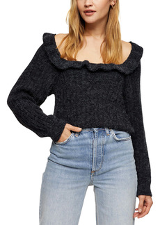 Topshop Ruffle Back Cutout Sweater
