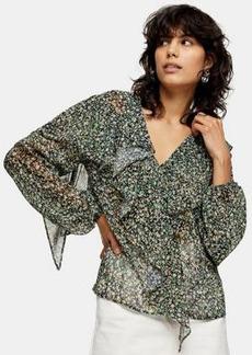Topshop ruffle detail blouse in multi