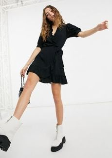 Topshop ruffle detail wrap mini dress in black