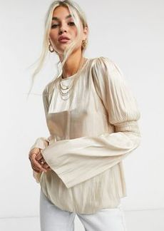 Topshop satin ruched sleeve blouse in gold