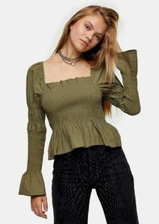 Topshop shirred blouse in khaki