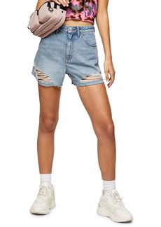 Topshop Split Super Rip Denim Shorts