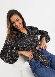 Topshop star and heart print tie front cropped blouse in multi