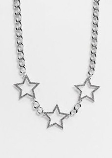 Topshop statement embellishment necklace in silver chunky chain and embellished star detail