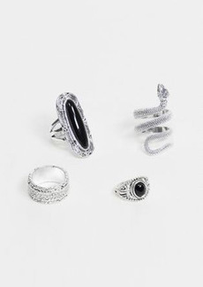 Topshop statement ring multipack in silver