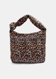 Topshop sustainable knotted nylon hobo bag in true leopard