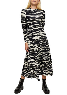 Topshop Tiered Animal Print Long Sleeve Dress