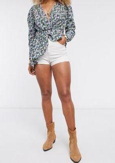 Topshop white mom denim shorts