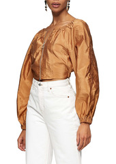 Topshop Zip Front Crop Blouse