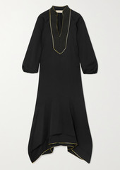 Tory Burch Belted Asymmetric Embroidered Crepe Dress