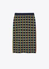Tory Burch Circuit-Plaid Tech Knit Skirt