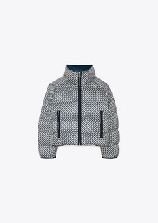 Tory Burch Cropped Printed Performance Satin Down Jacket