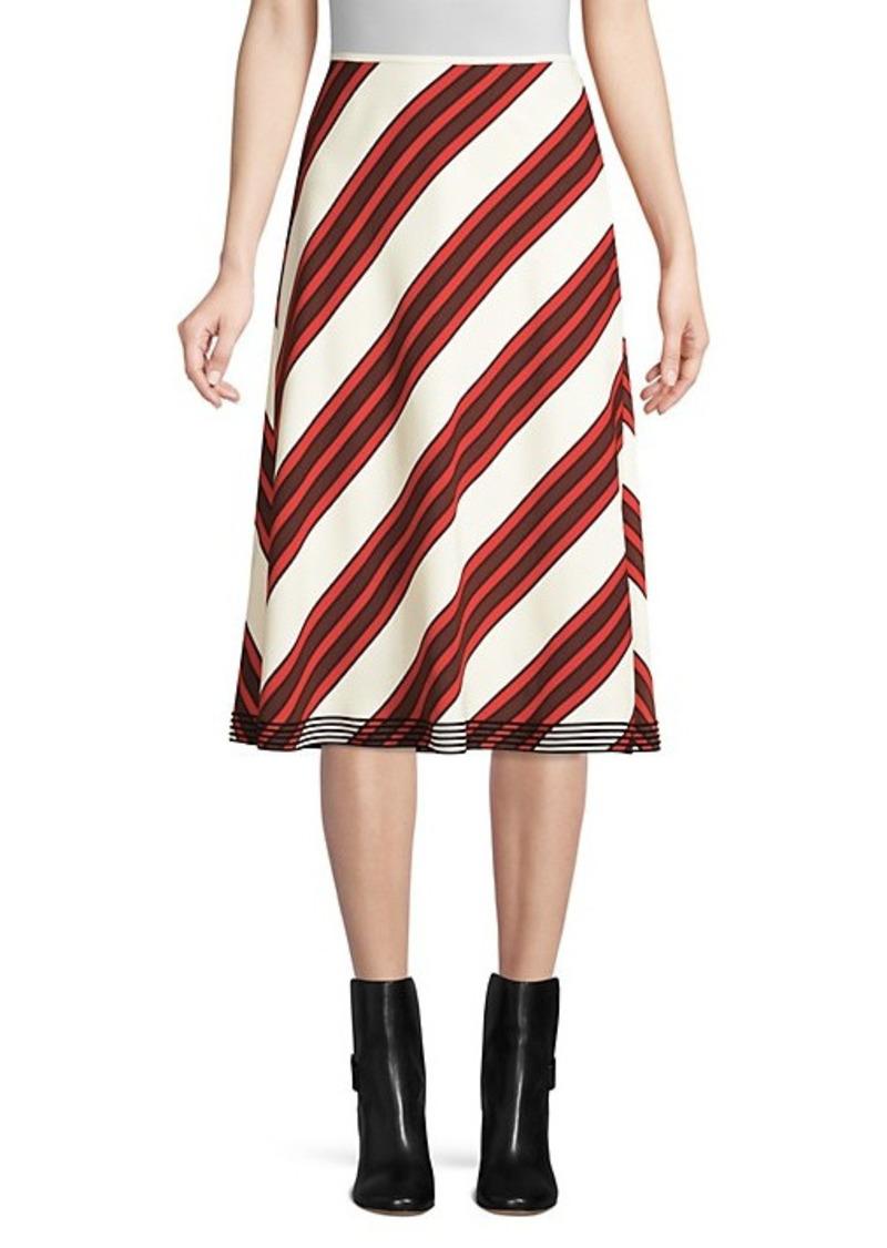 Tory Burch Diagonal Stripe-A-Line Skirt