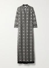 Tory Burch Embellished Satin-trimmed Organza Maxi Dress