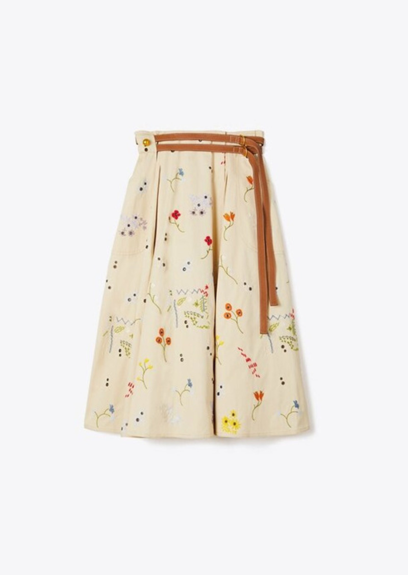 Tory Burch Embroidered Pleated Skirt