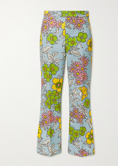 Tory Burch Floral-print Crepe Flared Pants
