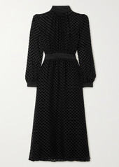 Tory Burch Metallic Stretch Jersey-trimmed Devoré-velvet Midi Dress
