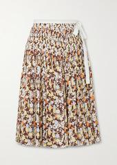 Tory Burch Pleated Floral-print Cotton Wrap Midi Skirt