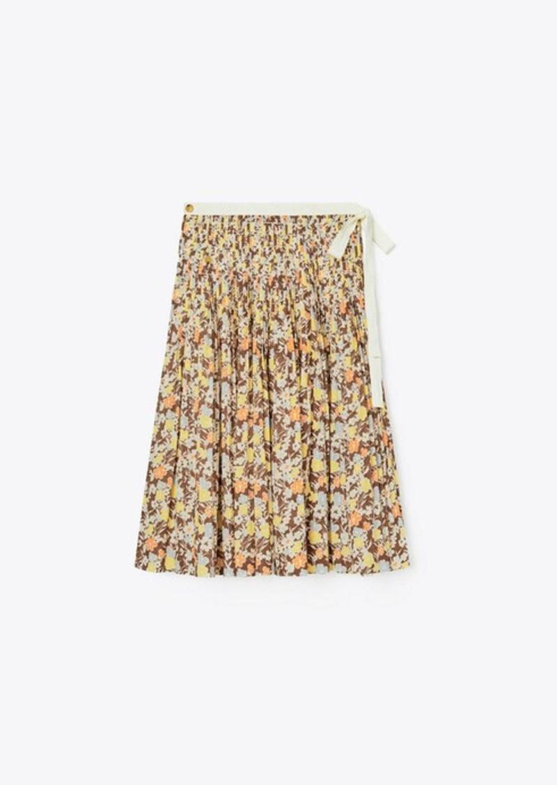 Tory Burch Pleated Tie Wrap Skirt