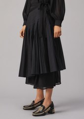 Tory Burch Pleated Tie-Wrap Skirt