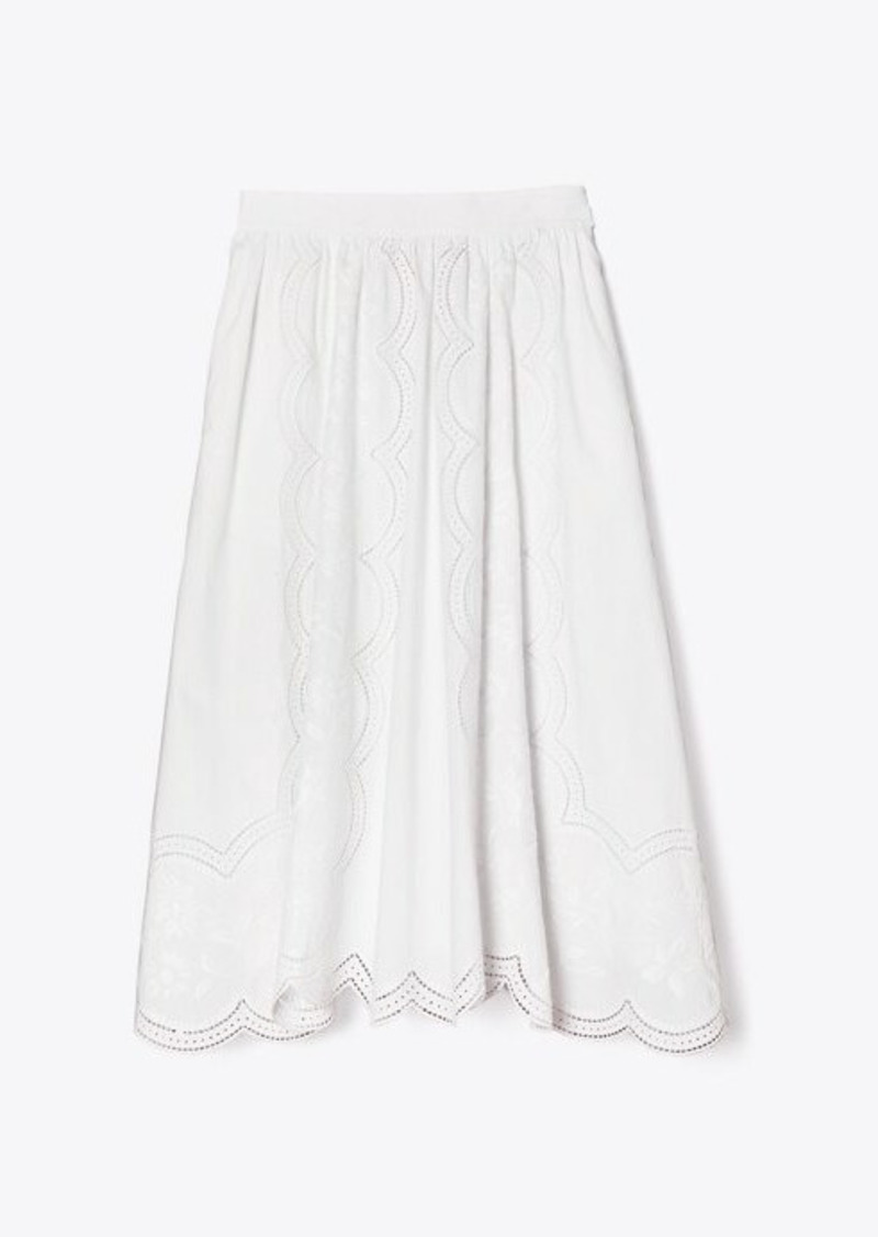 Tory Burch Poplin Embroidered Skirt