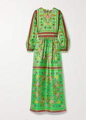 Tory Burch Printed Silk-twill Maxi Dress