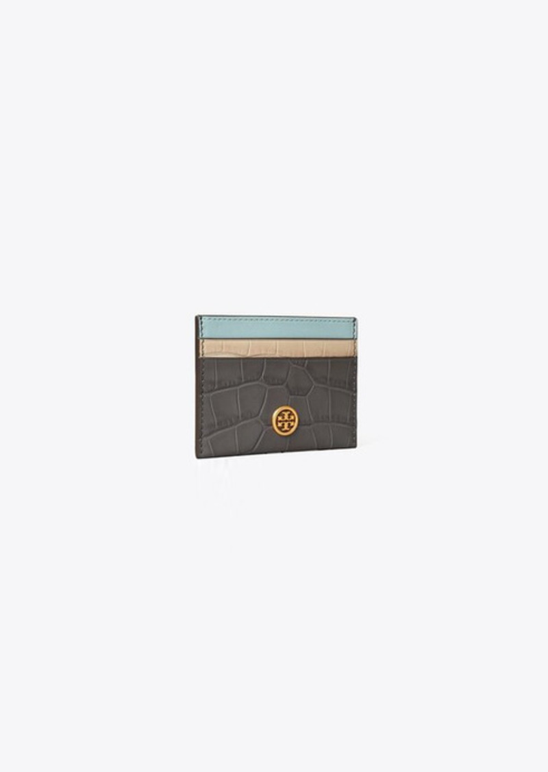 Tory Burch Robinson Embossed Color-Block Card Case