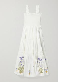 Tory Burch Shirred Embroidered Printed Cotton-blend Poplin Midi Dress