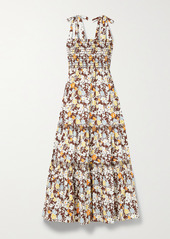Tory Burch Shirred Tiered Floral-print Cotton-blend Poplin Midi Dress