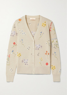 Tory Burch Simone Embellished Cotton Cardigan