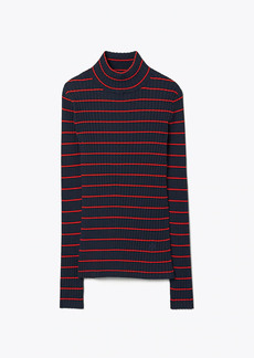 Tory Burch Striped Ribbed Soft Tech Knit Turtleneck
