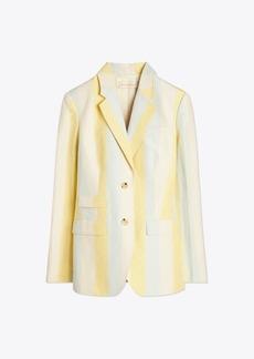 Tory Burch Striped Silk Linen Blazer