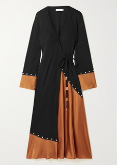 Tory Burch Studded Stretch-jersey And Satin Wrap Midi Dress