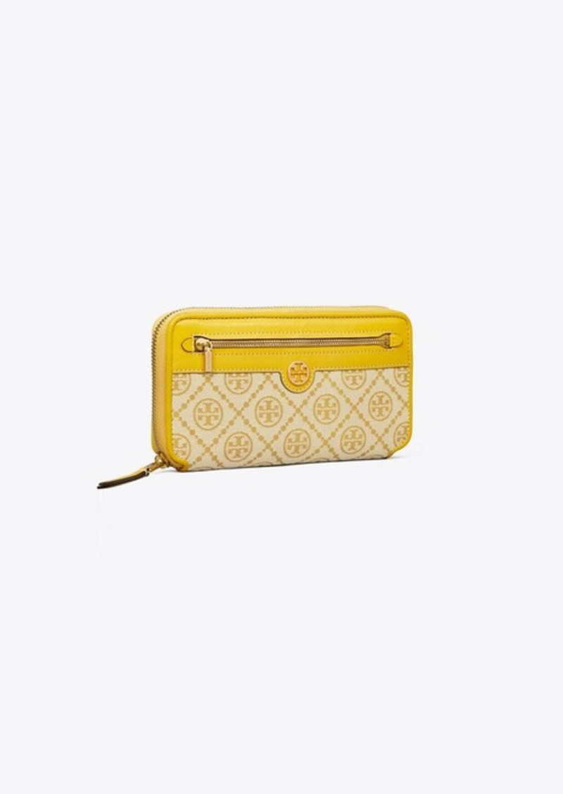 Tory Burch T Monogram Jacquard Zip Continental Wallet