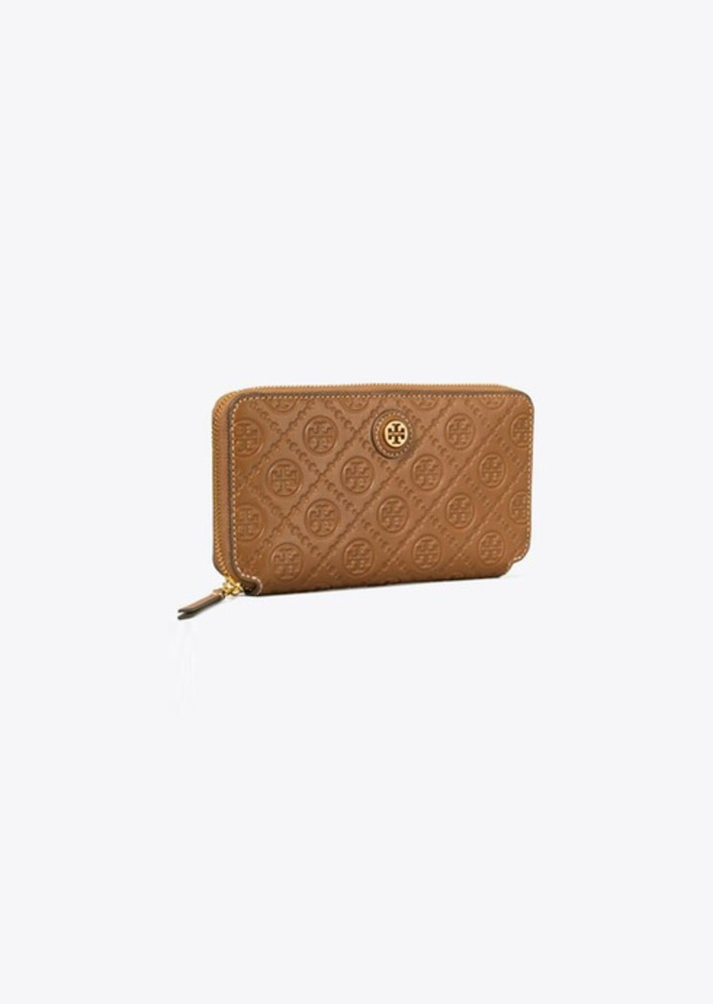 Tory Burch T Monogram Leather Zip Continental Wallet