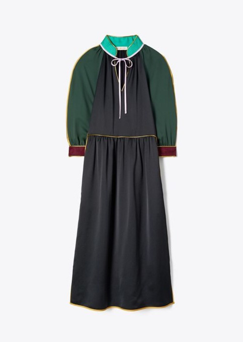 Tory Burch Tie-Neck Trapunto Dress