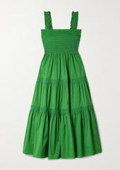 Tory Burch Tiered Shirred Cotton-blend Poplin Midi Dress