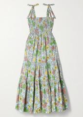 Tory Burch Tiered Shirred Floral-print Cotton-blend Poplin Maxi Dress