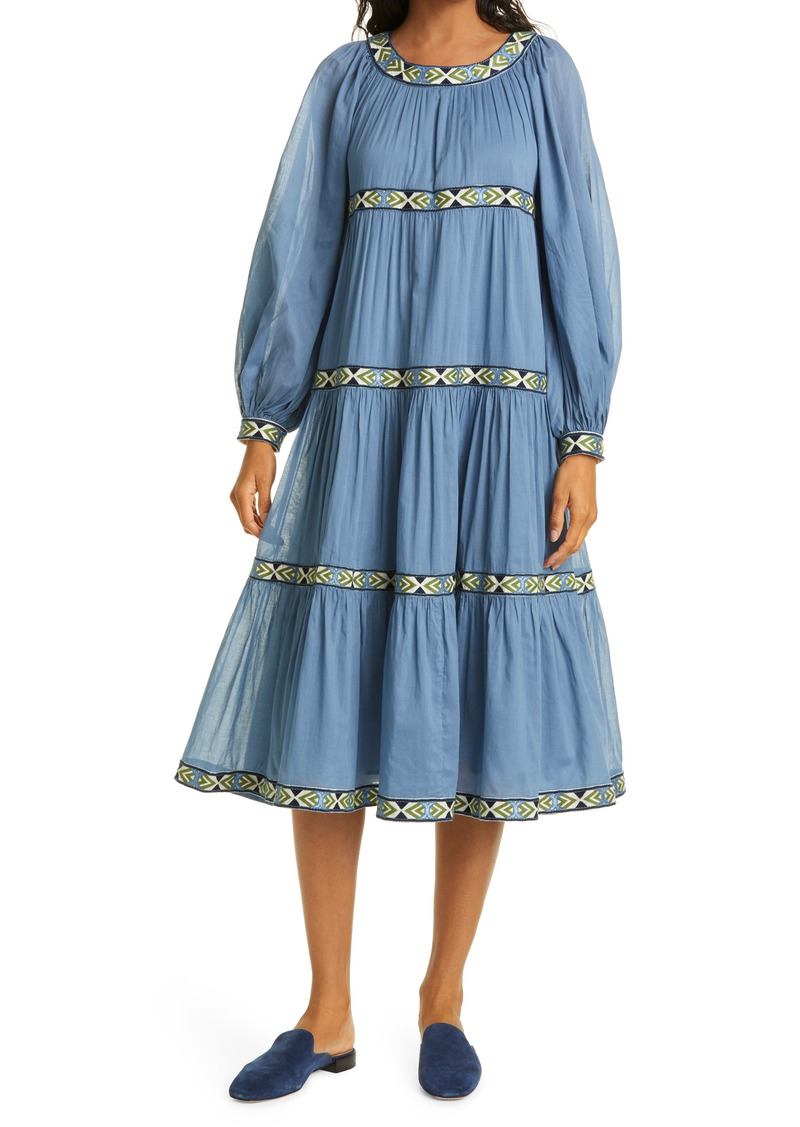 Tory Burch Balloon Long Sleeve Trapeze Dress